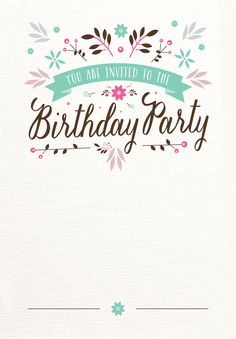 Flat Floral Free Printable Birthday Invitation Template - Card template free: invitation cards for birthday party template