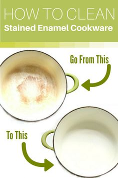 How to Make Stained Enamel Cookware White Again! Got Stained enamel cookware and can't get it clean with regular dish soap or your dishwasher? Here's how to get it bright and white again the easy way! Deep Cleaning Tips, House Cleaning Tips, Spring Cleaning, Cleaning Hacks, Diy Hacks, Cleaning Products, Cleaning Spray, Green Cleaning, Cleaning Solutions