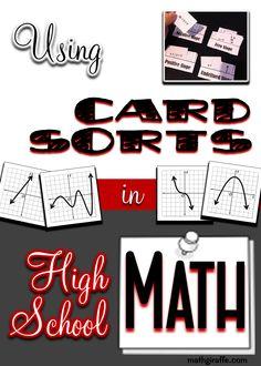 Three ways to use card sorting activities in high school math (in a meaningful way!) - Algebra I, Algebra II, Geometry, and Pre-Calculus Algebra Activities, Maths Algebra, Math Resources, Sorting Activities, Autism Activities, Math Math, Fun Math, Math Teacher, Math Classroom