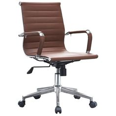 2xhome - Brown Modern Ergonomic Mid Back PU Leather Executive Office Chair Ribbed Swivel Tilt Conference Room Boss Home #ergonomicchairs