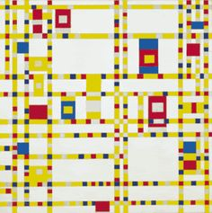 Piet Mondrian, Broadway Boogie-Woogie, 1942 If you look at this De Stijl painting slowly, can you see abstract references to gridded streets and cars traveling down them? A pinnacle of modern life! Piet Mondrian, Mondrian Kunst, Mondrian Dress, Kandinsky, Robert Motherwell, Giacometti, Theo Van Doesburg, Famous Abstract Artists, Abstract Paintings
