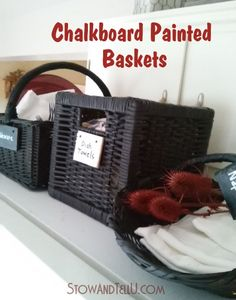 Hometalk :: Painting Mix Matched Baskets With Chalkboard Paint