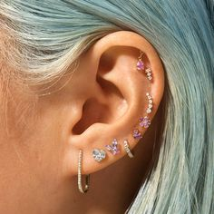 Unique Ear Piercings, Ear Piercings Chart, Cute Piercings, Multiple Ear Piercings, Ears Piercing, Ear Jewelry, Cute Jewelry, Body Jewelry, Jewelery