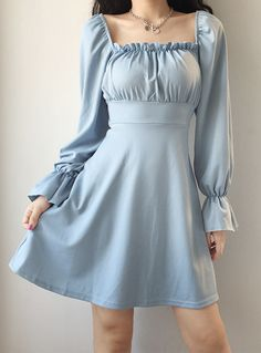 Pretty Outfits, Pretty Dresses, Beautiful Dresses, Simple Long Dress, Simple Short Dresses, Casual Dresses, Fashion Dresses, Blue Dress Casual, Korean Dress