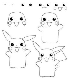 Easy drawings of pikachu steps to draw how to draw 3 in draw Kawaii Drawings, Doodle Drawings, Easy Drawings, Simple Cartoon Drawings, Easy Drawing Steps, Step By Step Drawing, Drawing Lessons, Art Lessons, Pokémon Kawaii