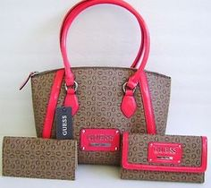 GUESS Coral Brown Proposal Satchel Bag Handbag Tote and CheckBook Wallet Set d21ccb5ab9ee8