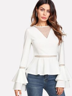 Shop Dot Mesh V Neck Lace Insert Peplum Top online. SHEIN offers Dot Mesh V Neck Lace Insert Peplum Top & more to fit your fashionable needs. Fall Shirts, Lace Insert, White Style, Types Of Sleeves, Fashion News, Peplum, Bell Sleeve Top, V Neck, Couture