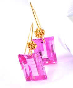 """""""Pink Sapphire Earrings """"Georgia"""" $ 130.00 Pink Sapphire earrings are part of ourFall/Winter 2014/2015 jewelry collection. Pink Sapphire lab stone, 10,5X14mm Granulated Vermeil Ear Wires Roped 27 x 11 mm; Gold over sterling silver"""" (quote) via renate-exclusive.com"""
