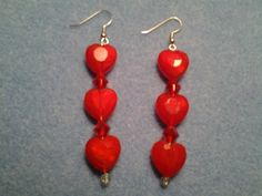 Red heart dangle earrings Red Love hearts | LOVE33 - Jewelry on ArtFire