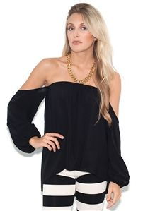 ad012a1218be9 Elan International Off-The-Shoulder Strapless Top in Black Strapless Tops