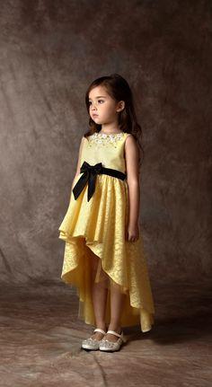 yellow layer dress for cute girl Little Girl Fashion, Little Girl Dresses, Kids Fashion, Girls Dresses, Flower Girl Dresses, Fashion Ideas, Fashion Quotes, Fashion Black, Baby Dress