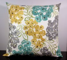 Floral decorative throw pillow cover 18 x18 inches Accent cushion sham slipcover in mustard gold yellow grey gray and teal. on Etsy, $18.00