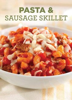 This Pasta and Sausage Skillet is so easy to make and its hearty cheesiness will have you wanting more!
