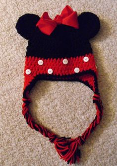Minnie Mouse Crochet Hat  All Sizes by HotOffTheHookCrochet, $25.00