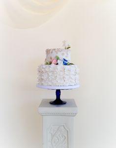 Ruffled two tier wedding cake by Sevacha cake