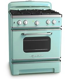 Big Chill - Big Chill Stove 30 in. wide - Beach Blue - The Big Chill Beach Blue Stove has the retro style you want Retro Kitchen Appliances, Vintage Appliances, Kitchen Stove, Kitchen Decor, Decorating Kitchen, Kitchen Furniture, Kitchen Cook, Kitchen Interior, Painted Appliances