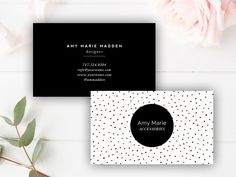 Business Card Template - Photoshop Templates - Polka Dot - Digital Photoshop Design for Millers Lab WHCC & Moo - INSTANT DOWNLOAD