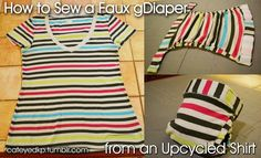 A very photo-heavy guide to sewing a faux gDiaper cover from an upcycled shirt Sewing Clothes, Diy Clothes, Couches, G Diapers, Do It Yourself Baby, Cloth Nappies, Diy Couture, Diaper Covers, Knit Shirt