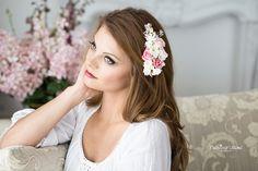 Haarschmuck & Kopfputz - Braut Haarschmuck Blüten Ivory Rosa Haarblüten - ein Designerstück von Princess_Mimi bei DaWanda