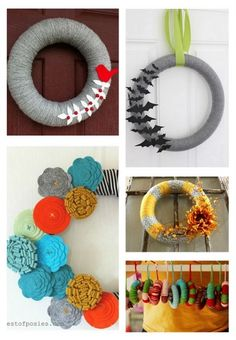 DIY Yarn Wreaths....don't forget, if you cut the foam wreath in two, you get two for the price of one, PLUS it lays better against the door!