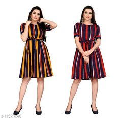 Checkout this latest Dresses Product Name: *Trendy Fancy One Piece Dress With Belt* Fabric: Poly Crepe Sleeve Length: Short Sleeves Pattern: Printed Multipack: 2 Sizes: XS (Bust Size: 34 in, Length Size: 37 in)  S, M, L, XL Country of Origin: India Easy Returns Available In Case Of Any Issue   Catalog Rating: ★4 (235)  Catalog Name: Free Mask Stylish Feminine Women Dresses CatalogID_2167743 C79-SC1025 Code: 994-11520840-0441