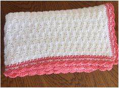 This beautiful crochet baby blanket with the free pattern was made with two colours, red and white, Caron Simply Soft Crochet Squares, Crochet Blanket Patterns, Baby Blanket Crochet, Stitch Patterns, Knitting Patterns, Crochet Shell Stitch, Easy Crochet, Crochet Stitches, Free Crochet