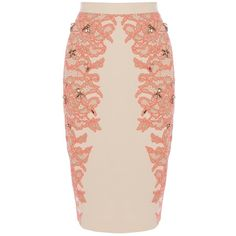 Coast Kimbriella Skirt, Neutral (2.615 UYU) ❤ liked on Polyvore featuring skirts, knee length pencil skirt, pink pencil skirt, embellished skirt, fitted skirts and pink skirt