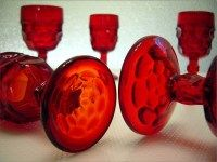 Stemware Glorious Pair Antique Etched Ruby Hock Wine Glasses Faceted Bubble Stem Profit Small Glass