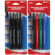 Permanent Markers, 4-ct. Packs