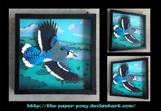 Commission: Blue Jay Shadowbox by The-Paper-Pony on DeviantArt