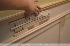 bathroom walls - recessed panel wainscoting with tile accent - 17