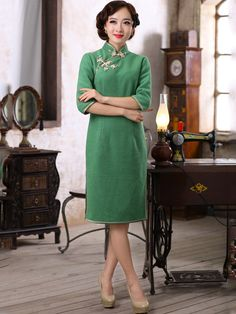 Green Knee Length Wool Qipao / Cheongsam / Chinese Evening Dress for Winter