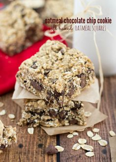 Oatmeal Chocolate Chip Cookie Soft-Baked Oatmeal Squares