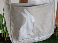 Bunny silhouette child's tote bag Madison by KatieClairesCottage, €22.00