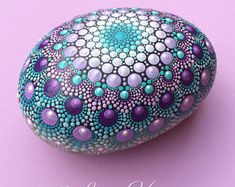 Stone Mandala, dot art, painted stone, painted rock, dot mandala, huge.