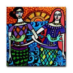 6x6 Mermaid Art Tile - Mexican Folk Art Ceramic Coaster