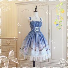 Butterfly Pavilion~ Sweet Lolita Normal Waist Jumper Dress -Pre-order