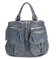 Lockheart Malia Tote in Slate (zippers, from New York, brand is Lockheart)