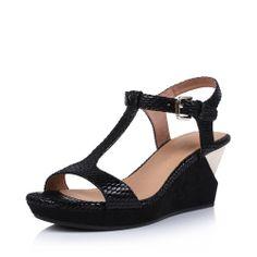 【妙丽millies LUX11BL4 黑色】MILLIE'S/妙丽黑色绒面羊皮贴膜女皮凉鞋LUX11BL4夏季2014