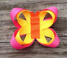 Hot Pink, Yellow, and Orange Butterfly Ribbon Sculpture Hair Clip - Girls Hair Accessories... Free Shipping Promo