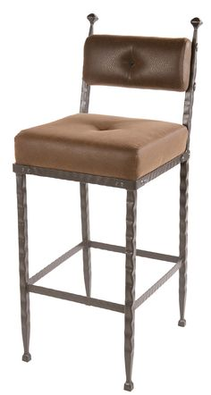 """Stone County Ironworks 904-197-FBR Forest Hill Barstool (padded back) 25"""""""
