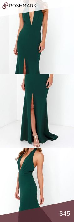 Dark Green plunge long dress Full length dress with plunging neckline. Front center slit. Very flattering and a small train opens at bottom. Very comfortable and has nice stretch. Length: approximately 62inches lulus Dresses Maxi