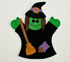 Fun Puppets for Halloween  Witch Hand Puppet by FeltieDesigns on Etsy, $17.00