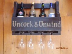 """Primitive Sign - 20"""" x 5"""" x 13"""" Wine Rack.  Stenciled with your favorite saying.  Does not include wine or glasses."""