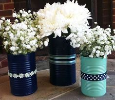 diy bridal shower centerpieces // occasions baby shower wedding shower christmas easter and Painted Tin Cans, Paint Cans, Cheap Vases, Tin Can Crafts, Soup Can Crafts, Kids Crafts, Bridal Shower Centerpieces, Wedding Decorations, Table Decorations