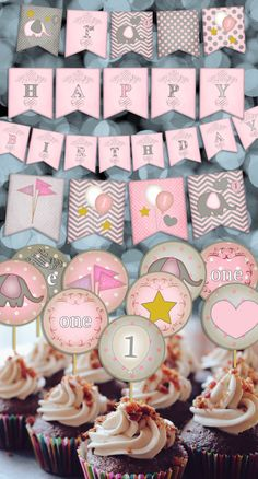 Pink Elephant Banner & Cupcake Topper Printables  - Customizable - printable digital by SweetPapermint on Etsy https://www.etsy.com/listing/228722212/pink-elephant-banner-cupcake-topper