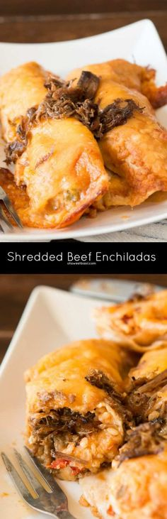 Leftovers can be amazing, especially when salsa con queso is involved! Shredded beef enchiladas are on the menu tonight! Let's get one thing… Carnitas, Barbacoa, Horchata, Pozole, Carne Asada, Great Recipes, Dinner Recipes, Favorite Recipes, Beef Dishes