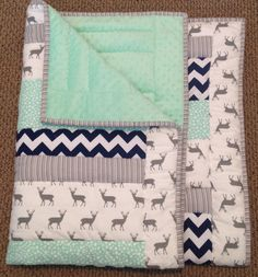 Baby quilt Minky baby blanket Navy blue chevron by ohSEWcuddly