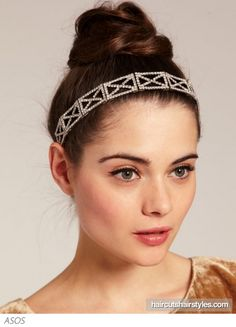 Classic Bun Updo trendy with a sparkly Headband