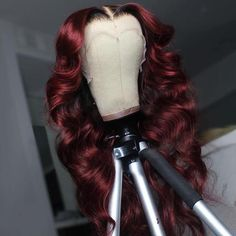 Black Roots Vibrant Burgundy Body Wave Lace Frontal Wig - 28 inches